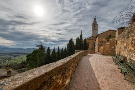 Foreshortening of the medieval city of Pienza in Tuscany Italy Editorial