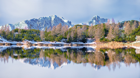 Panoramic of a mountain lake reflecting the mountains