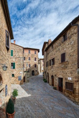 Interior of the typical medieval village of Monticchiello in the province of Siena Tuscany Italy