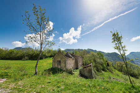 Ancient house in the destroyed countryside to be restored Stock Photo