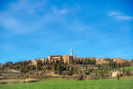 View of the medieval village of Pienza in Tuscany