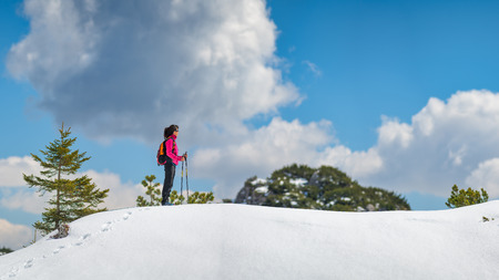 Lonely girl walks in the mountains on the snow Stock Photo