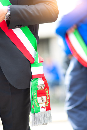 Mayors of Italian municipalities. Detail of the tricolor