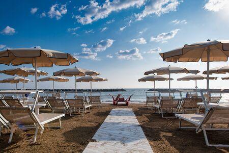 Beach on the Adriatic coast of Italy in Italy Stock Photo