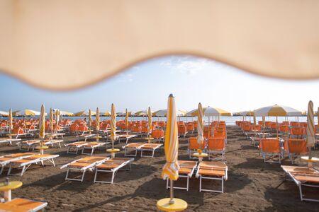 Bathing establishment on the Romagna coast Adriatic Sea in Italy