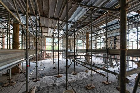 Internal construction site with scaffolding