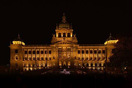 Prague National Museum at night. Reklamní fotografie