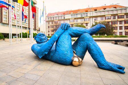Prague, Czech Republic - 6 September 2019:  King Kong Balls in Prague. By Denis Defrancesco French artist Editorial