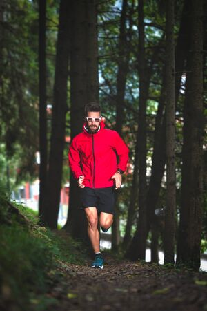 Runner in the woods on a nature trail