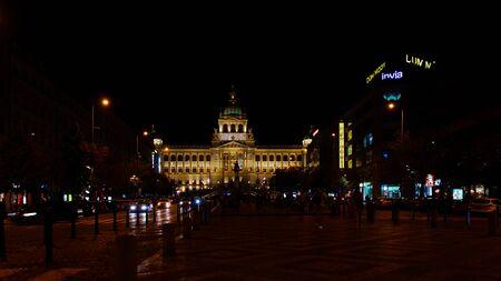 Prague, Czech Republic - 4 September 2019: The Prague National Museum at the end of the street at night Redakční