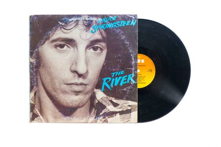San Pellegrino terme, Italy - November 19, 2019:  Bruce Springsteen's original vinyl record: The river Banco de Imagens - 134320042