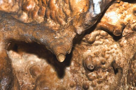 Detail of stalactite in underground limestone caves