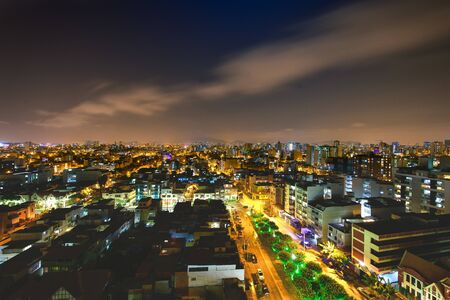 Lima capital of Peru in night view Stock Photo