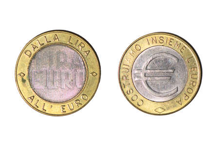 From the lira to the euro italian token. Presentation of the Euro coin. Precursors of the coin Stock fotó