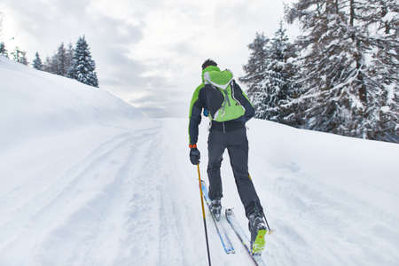 A hiker skier on a solo outing