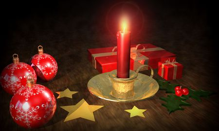 stellar: christmas background with candle balls and other decorations Stock Photo