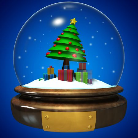 Sphere of glass with christmas tree and gift inside on snowy landscape photo