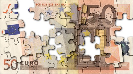 jigsaw of fifty euro Stock Photo - 3959719