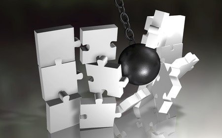 hard to find: 3d picture of a demolition of a jigsaw white pieces on reflective floor