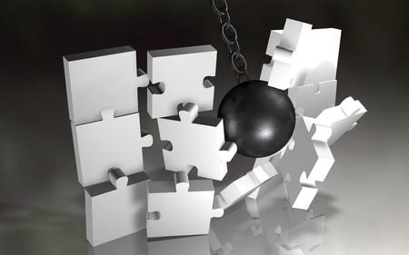pull toy: Imagen 3D de una demolici�n de un rompecabezas de piezas de color blanco reflectante sobre piso