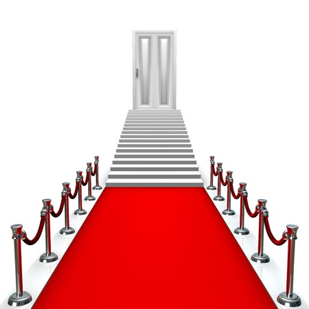 3D entrance with a red carpet and silver poles with stairs and a door atthe end photo