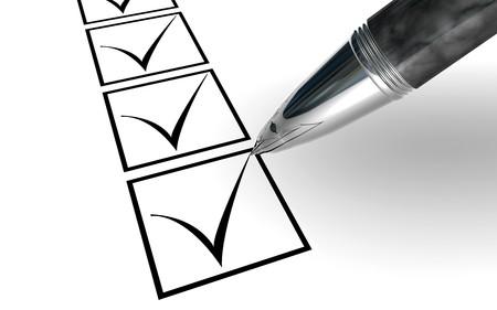 elrgant pen checking box isolated on white photo