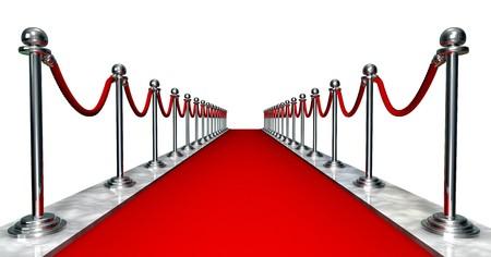 3D entrada con una alfombra roja y plata polos Foto de archivo