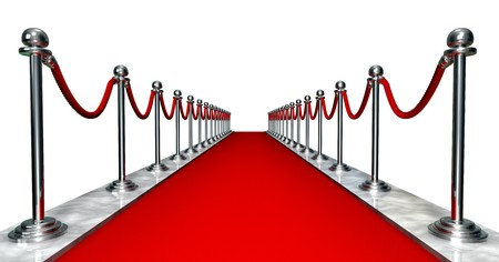 3D entrance with a red carpet and silver poles Stock Photo - 3959718
