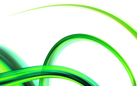 colour fan: green abstract curve shapes on white background Stock Photo