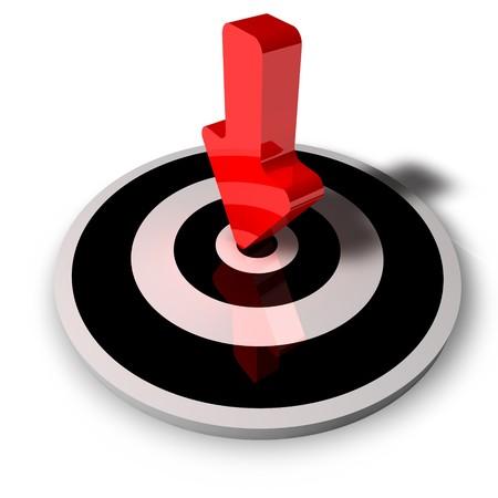 mision: 3d flecha roja en un centro aislado sobre fondo blanco Foto de archivo