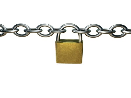chain with a padlock on white background Stock Photo - 3979545