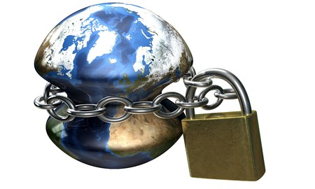 earth locked by a chain with padlock photo
