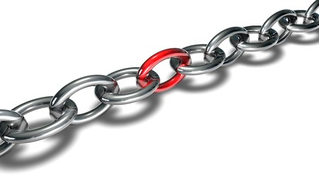 chain with red ring isolated on white background