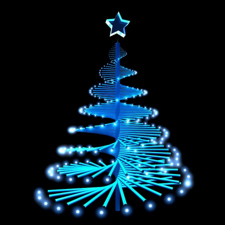 abstract blue glowing christmas tree