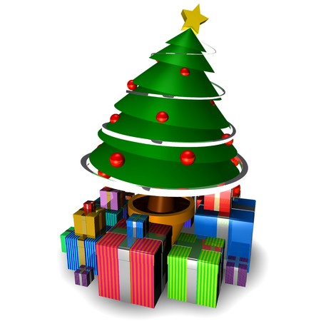 plastic christmas tree: 3d christmas tree isolated with gifts on white background