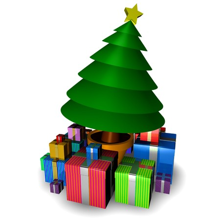 3d christmas tree isolated with gifts on white background photo