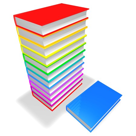 colrful: pile of colrful books isolated on white background