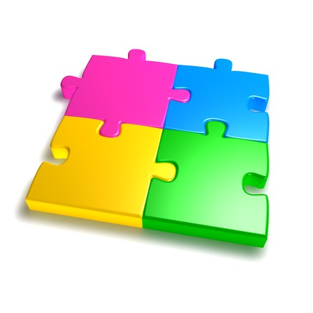 colorful 3d jigsaw isolated on white background photo