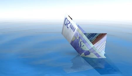 20 euro bateau coule dans la mer Banque d'images - 3979542