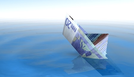 20 euro: 20 euro boat sinking in the sea Stock Photo