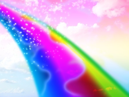 colorful background of a sky with a rainbow Stock Photo - 3979405