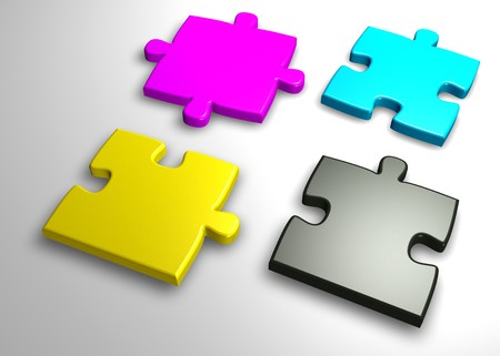 incomplete jigsaw with cmyk colors photo