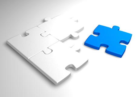 white jigsaw with a blue missing piece Stock Photo - 3979567