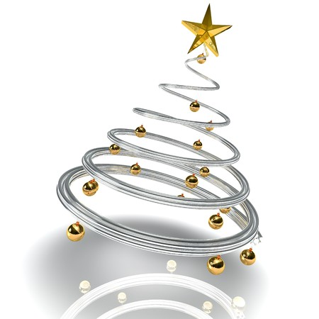 3d image of a silver  modern christmas tree with ball of gold
