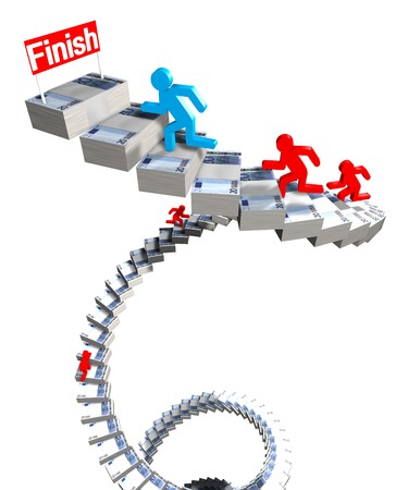 3d image of men running on stairs of euro Stock Photo