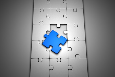 3d image of an incomplete jigsaw with a blue piece Stock Photo - 3979501