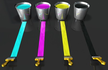 3d image of buckets of paint and brushes photo