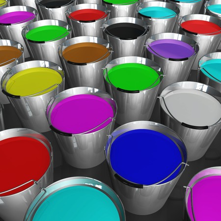 3d image of buckets of colorful paint photo