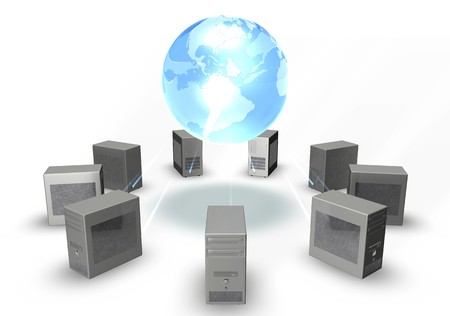 3d image of computers around a blue shiny globe Stock Photo - 3979514