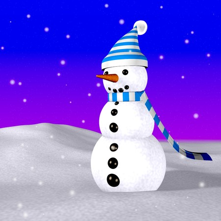 endearing: funny 3d image of a snowman